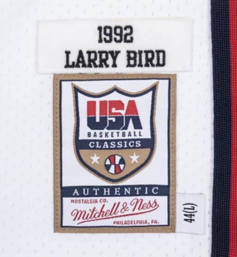 Maillot NBA Team USA 92 Larry Bird Mitchell and Ness Authentic - etiquette