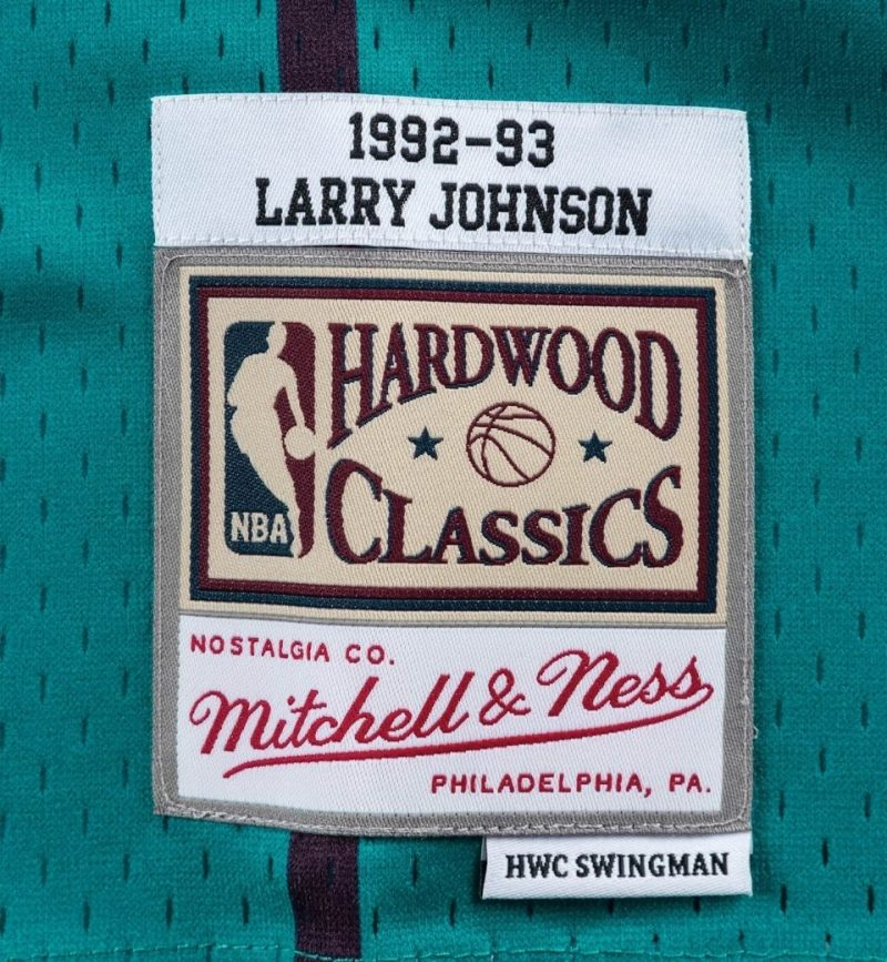 Maillot Larry Johnson Charlotte Hornets 1992-93 - Mitchell and Ness - etiquette